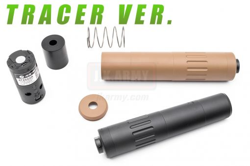 ARTISAN M4 2000 Style Dummy Silencer with Flash Hider 14mm CCW + AT2000R Tracer Unit ( BK / DE )