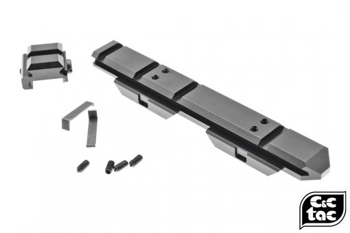C&C V3 .410 Riser Mount Low Profile Rail and Front Sight Mount Set for Airsoft 20mm Rail ( Black ) ( CAG Style )