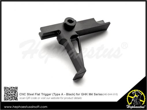 Hephaestus CNC Steel Flat Trigger ( Type A - Black / Silver ) for GHK M4 GBB Rifle Series