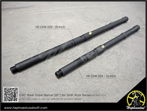"""Hephaestus CNC Steel Outer Barrel ( 20"""" ) for GHK AUG GBB Rifle Series"""