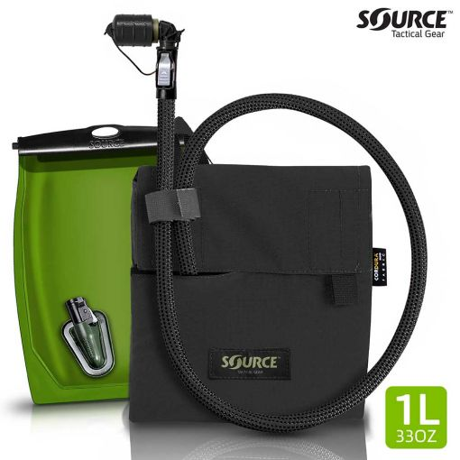 SOURCE Kangaroo Collapsible Canteen 1L with Hydration Pouch ( Black )