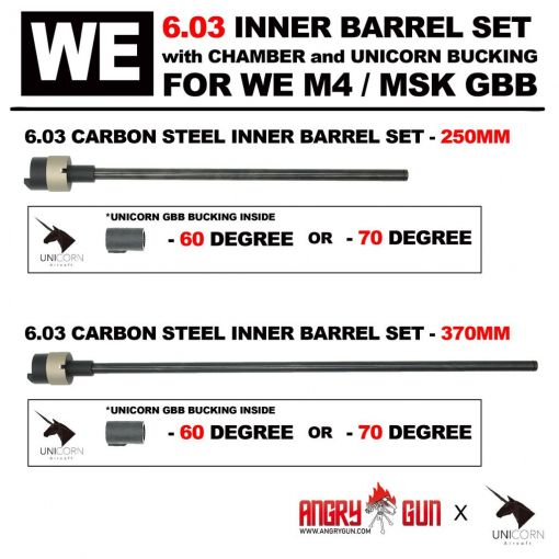 Angry Gun WE M4 6.03 Carbon Steel Inner Barrel Set ( With Chamber Set & Bucking ) ( for WE M4 / MSK GBBR )