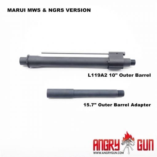 "Angry Gun L119A2 10"" & 15.7"" Outer Barrel Set For Marui TM M4 MWS GBB Series / Marui Next Gen EBB Series"