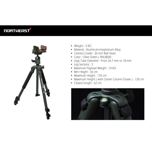 NORTHEAST Tropic Recon Kit Tripod and Jaws Saddle Combo ( OD )