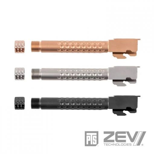 PTS ZEV Suppressor Threaded Dimpled Barrel w/ Laylax Nine Ball 108.5mm Inner Barrel Power Barrel Combo Set for Tokyo Marui TM G17 G Model GBB Pistol Series