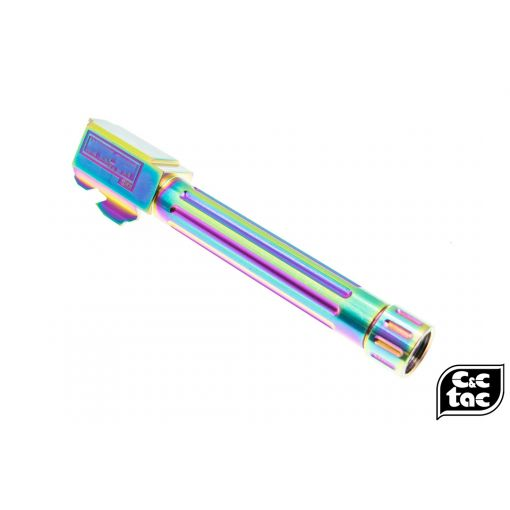 C&C BK-List Style Stainless Steel Threaded Outer Barrel 14mm CCW for TM G Model 17 - Chameleon ( Rainbow ) ( For Marui G17 )