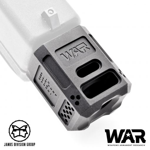 JDG WAR A10 Compensator 14mm CCW for Airsoft Glock Gen4 Model ( Licensed by WAR ) ( Black )