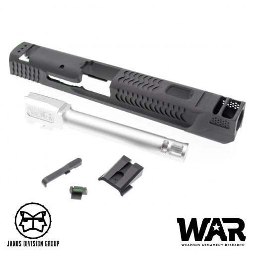 JDG WAR Afterburner M&P 1.0 Slide Set for TM M&P9 ( Licensed by WAR ) ( Black w/ Silver Barrel )