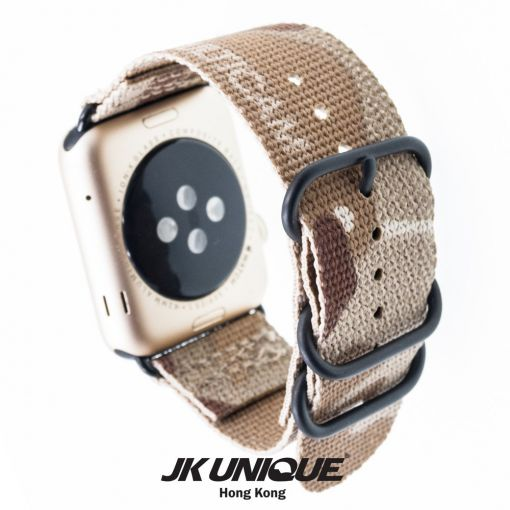 JK UNIQUE CAMO NYLON Apple Watch Strap 42mm Black Buckle - Multicam Arid