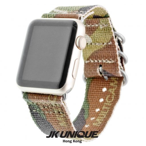 JK UNIQUE CAMO NYLON Apple Watch Strap 42mm Silver Buckle - Multicam