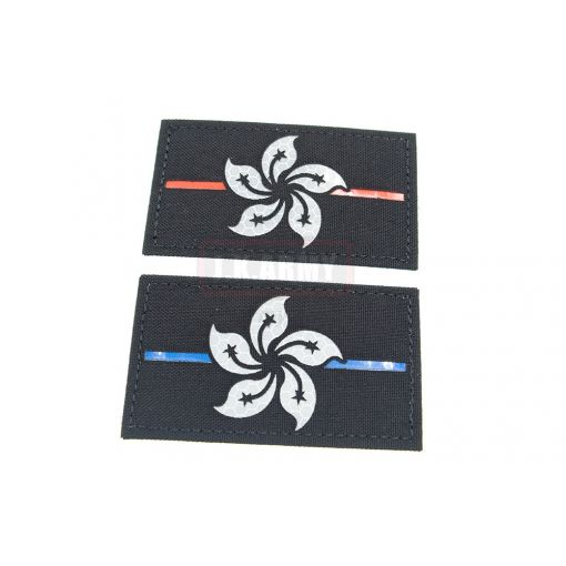 Reflective HKSAR ( Hong Kong ) Flag Patch ( Red Line / Blue Line ) ( Free Shipping )
