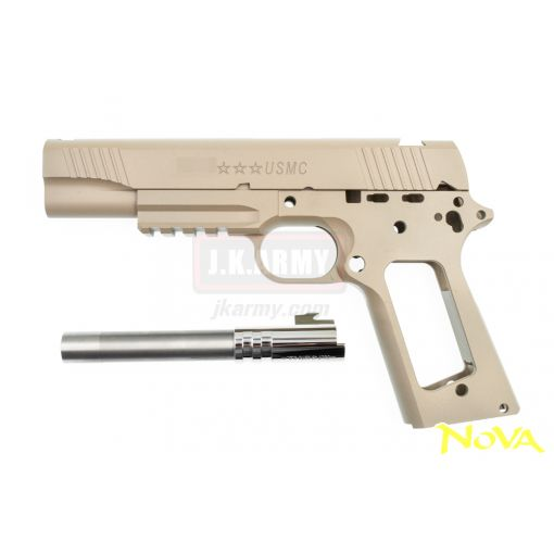 Nova M45A1 CQBP Aluminum Frame & Slide Kit for Marui Airsoft 1911 Series ( Cerakote FDE )