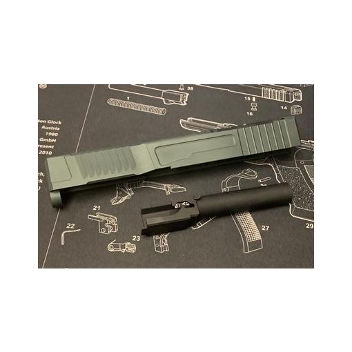 NOVA CNC Aluminum FI-style Model19 MK-1 Slide set for Tokyo Marui Model 19 GBB Series ( Titanium Grey )