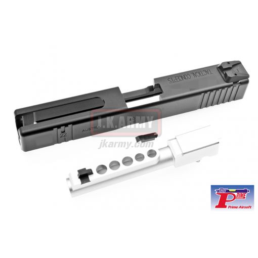 Prime BTC Style CNC Aluminium Slide with Barrel for Tokyo Marui Model 22 GBB Series - Black
