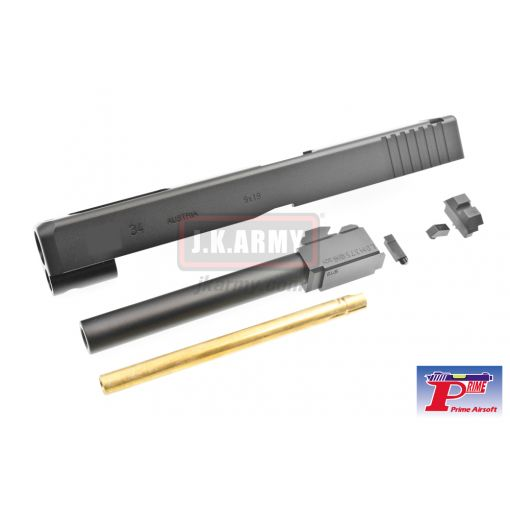 Prime G34 Style CNC Aluminium Slide with Barrel for Tokyo Marui Model 34 GBB Series - Black
