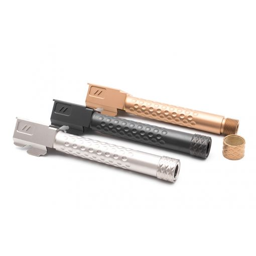 PTS ZEV Suppressor Threaded Dimpled Barrel with Steel Cap Thread Protector for TM G Model 17 GBB Pistol ( Black / Silver / Bronze )