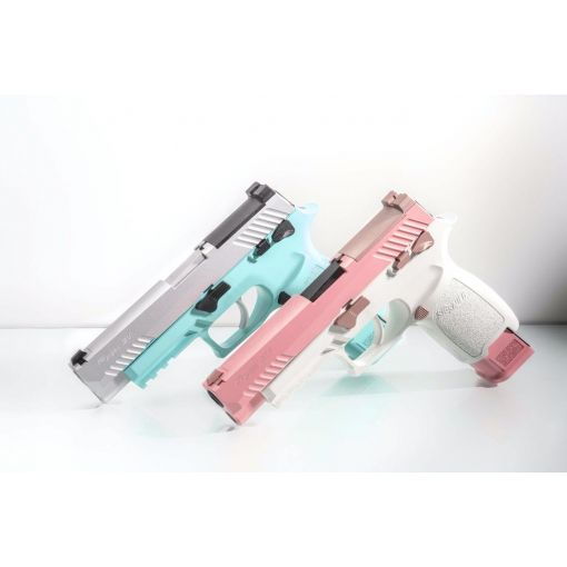 Custom SIG AIR P320 M17 6mm Gas Version GBB Pistol ( Cerakote Pink Slide and white Frame / Cerakote Robin Egg Blue Frame and Silver Slide )