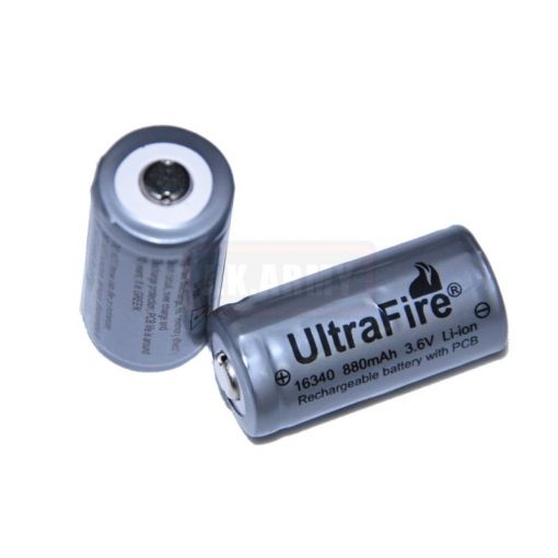 Ultrafire 16340(CR-123A) 880mAh 3.6V Li-ion with PCB (rechargeable)(1pc)