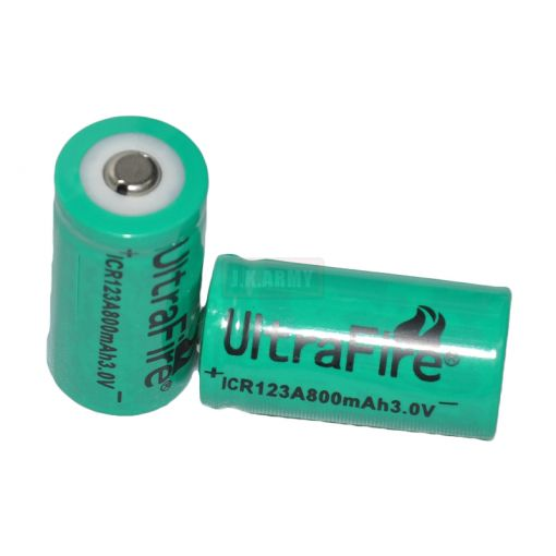 Ultrafire ICR123A 800mAh 3.0V Li-ion (Rechargeable) (1pc) (GREEN)