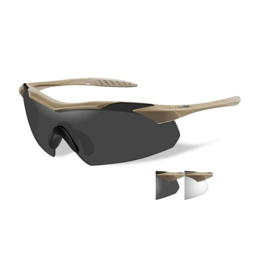 WILEY X Vapor Grey/Clear/Tan Frame Shooting Glasses