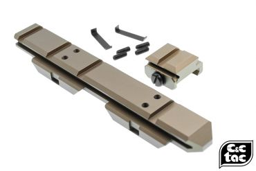 C&C V3 .410 Riser Mount Low Profile Rail and Front Sight Mount Set for Airsoft 20mm Rail ( Brown ) ( CAG Style )