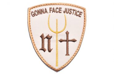 Gonna Face Justice Navy Seals Trident Patch ( Tan ) ( Free Shipping )