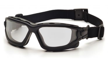 Pyramex I-Force Slim Safety Goggle Clear Dual Anti-Fog Lens with Black Temples/Strap ( SB7010SDNT )