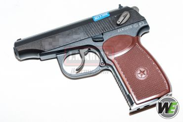 WE Makarov Gas Pistol with Marking and Silencer ( BK w/ Brown Grip )