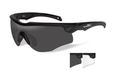 WILEY X Rogue Grey/Clear / Matte Black Frame Shooting Glasses
