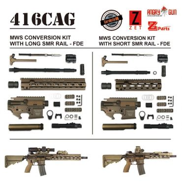 Angry Gun 416D TM MWS Conversion Kit with 10.5 inch SMR Rail ( Black / FDE ) ( Marui MWS )