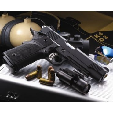KJ Works KP-05 HI-CAPA Full Metal Black GBB Pistol ( Black ) ( KP05 ) ( Gas Mag Ver .)