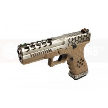 AW VX0110 Hex Cut Signature Model 17 GBB Airsoft Pistol ( SV/TAN )