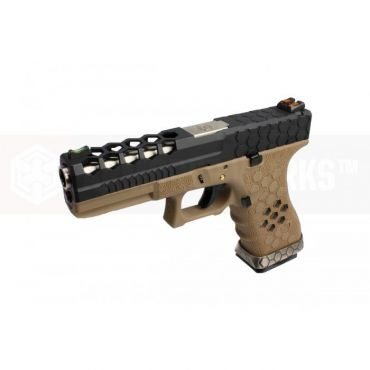 AW VX0111 Hex Cut Signature Model 17 GBB Airsoft Pistol ( BK/TAN )