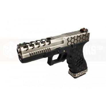 AW VX0100 Hex Cut Signature Model 17 GBB Airsoft Pistol ( SV/BK )