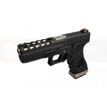 AW VX0101 Hex Cut Signature Model 17 GBB Airsoft Pistol ( BK/BK )
