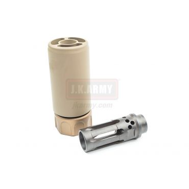 Airsoft Artisan SF Style Muzzle Break with W Style Comp Flash Hider ( Dark Earth ) ( 14mm CCW )