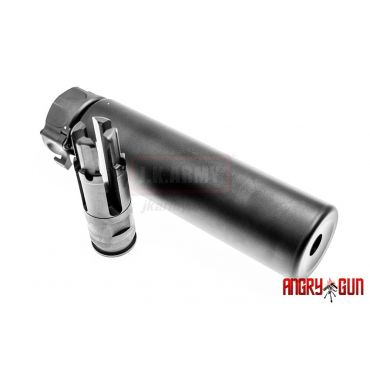 Angry Gun SF216A Style Dummy Silencer w/SF216A Airsoft Flash Hider 14mm CCW ( Black )