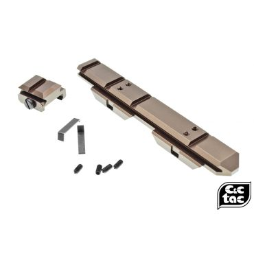 C&C V3 .410 Riser Mount Low Profile Rail and Front Sight Mount Set for Airsoft 20mm Rail ( Glossy Copper Brown ) ( CAG Style )