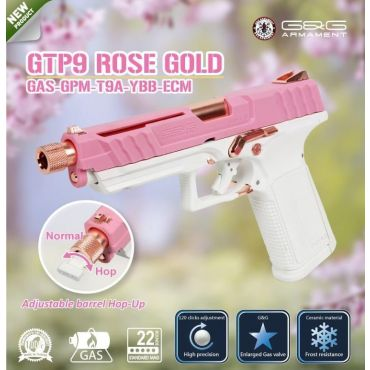 [ Preview ] G&G GTP9 ROSE GOLD Airsoft GBB Pistol ( Pink ) ( GAS-GPM-T9A-YBB-ECM )