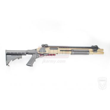 Golden Eagle M870 AR Tactical Tri-Shot Gas Pump Action Shotgun ( Tan )