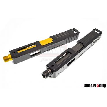 Guns Modify S Style Aluminum Slide w/ Threaded Barrel for TM Model 19 SA T1 ( BK / GD )