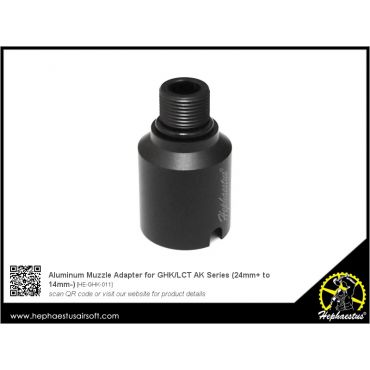 Hephaestus Aluminum Muzzle Adapter for GHK / LCT AK AEG / GBB Rifle Series ( 24mm CW to 14mm CCW )