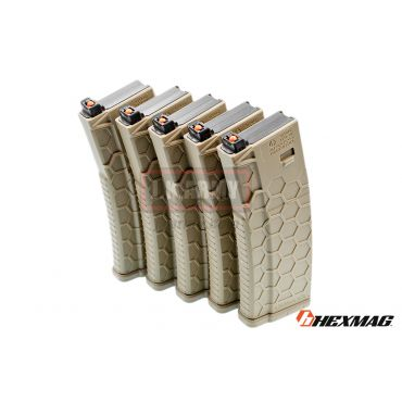 Hexmag Airsoft 120rd Magazine for PTW M4 ( 5 Pcs Pack - FDE )
