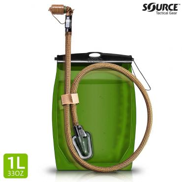Source Kangaroo 1L / 32oz. Collapsible Hydration SQC, QMT Storm Valve - IRR Coyote