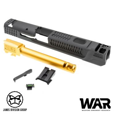 JDG WAR Afterburner M&P 1.0 Slide Set for TM M&P9 ( Licensed by WAR ) ( Titanium Grey w/ Gold Barrel )