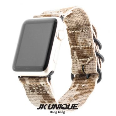 JK UNIQUE CAMO NYLON Apple Watch Strap 42mm Black Buckle - AOR1 ( Digital Desert )