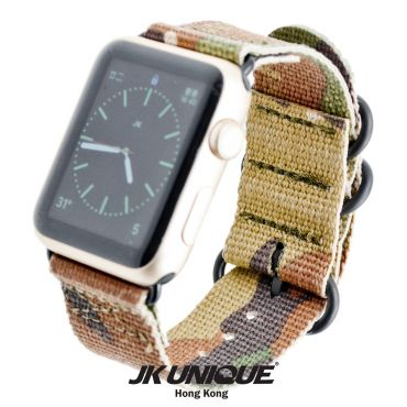 JK UNIQUE CAMO NYLON Apple Watch Strap 42mm Black Buckle - Multicam