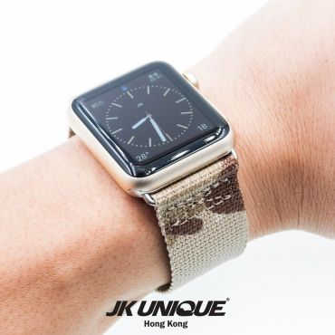 JK UNIQUE CAMO NYLON Apple Watch Strap 42mm Silver Buckle - Multicam Arid