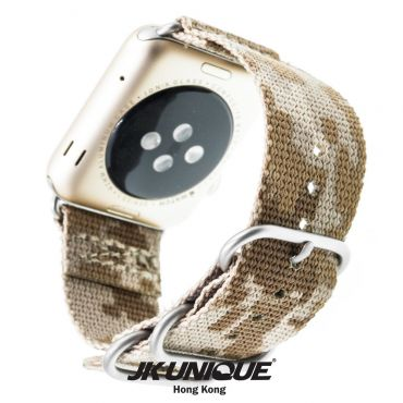 JK UNIQUE CAMO NYLON Apple Watch Strap 42mm Silver Buckle - AOR1 ( Digital Desert )