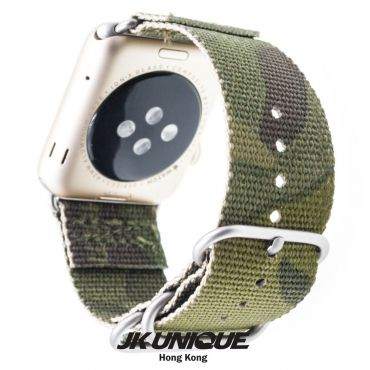 JK UNIQUE CAMO NYLON Apple Watch Strap 42mm Silver Buckle - Multicam Tropic
